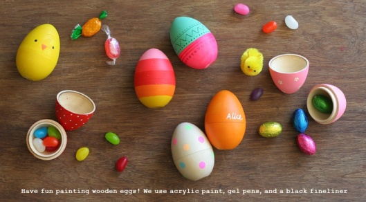 blank wood eggs painted